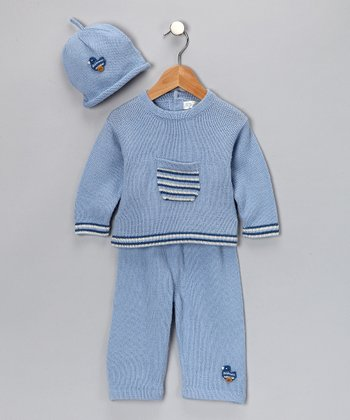 Light Blue Alpaca Duck Sweater & Pants Set - Infant