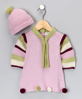 Pink Alpaca Pompom Dress & Beanie - Infant