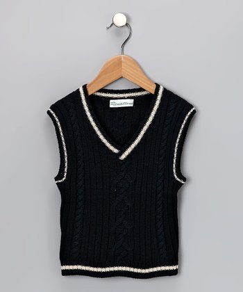 Navy Cabled Vest - Toddler & Boys