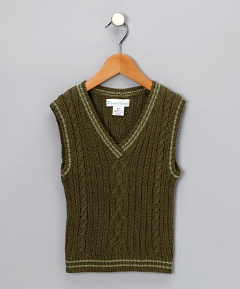 Green Cabled Vest - Toddler & Boys
