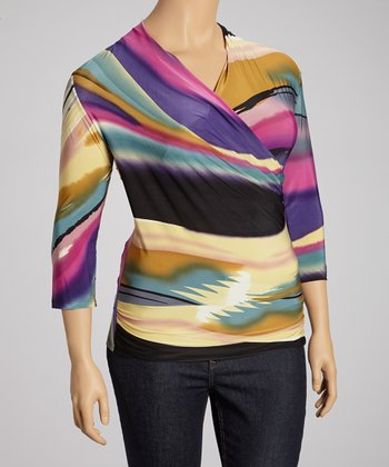 Magenta Sunset Surplice Top - Plus
