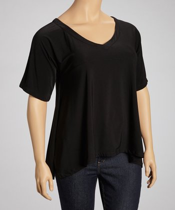 Black Short-Sleeve Top - Plus