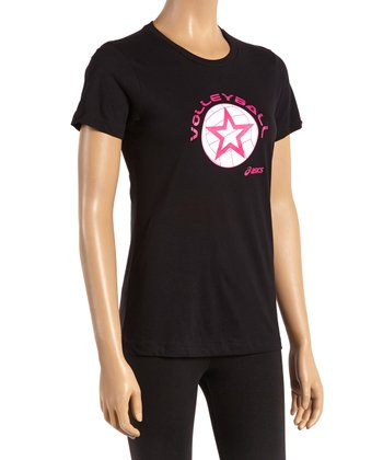 Black Volleyball Star Tee - Women