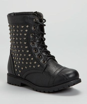 Black Studded Combat Boot