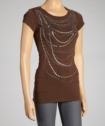 Brown Necklace Cap-Sleeve Top