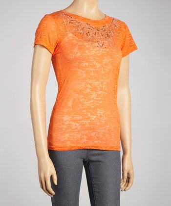 Orange Rhinestone Burnout Short-Sleeve Top