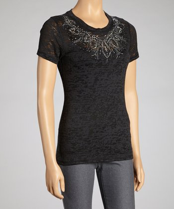 Black Rhinestone Burnout Short-Sleeve Top