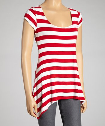 Red & White Stripe Sidetail Scoop Neck Top