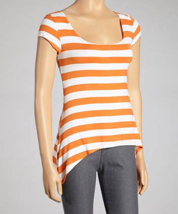 Orange & White Stripe Sidetail Scoop Neck Top