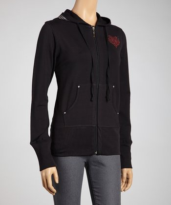 Black Deviled Heart Zip-Up Hoodie