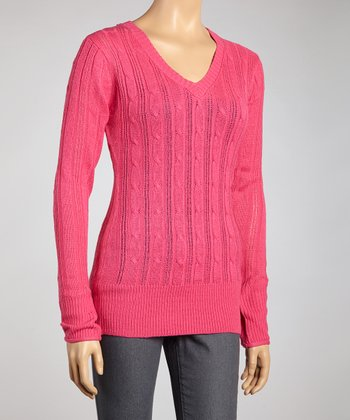 Pink Cable-Knit V-Neck Sweater