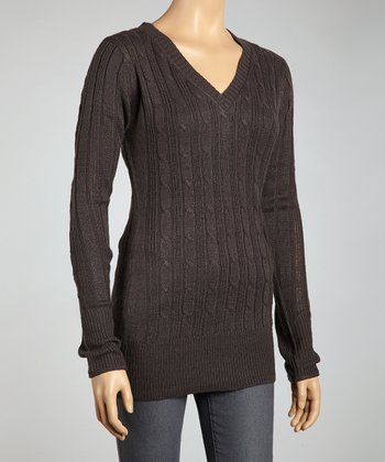 Charcoal Cable-Knit V-Neck Sweater