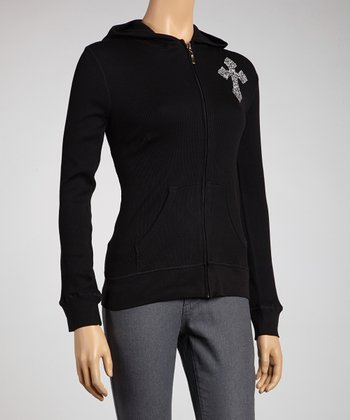 Black Maltese Cross Zip-Up Hoodie