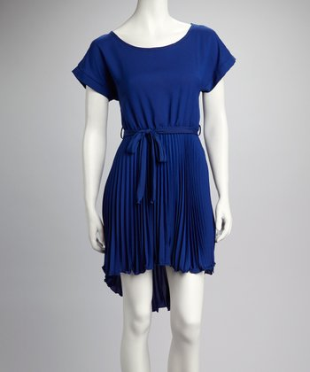 Royal Blue Belted Pleated Dress