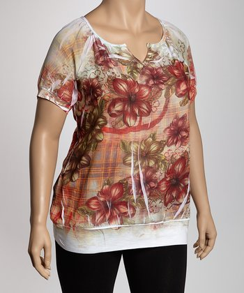 Olive Floral Sublimation Plus-Size Top