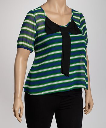 White & Green Stripe Sheer Plus-Size Scoop Neck Top