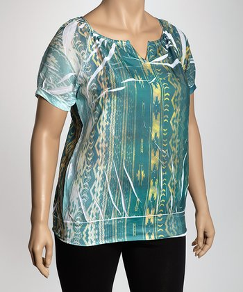 Green Tribal Sublimation Top - Plus