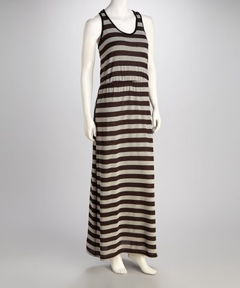 Brown & Gray Stripe Racerback Maxi Dress