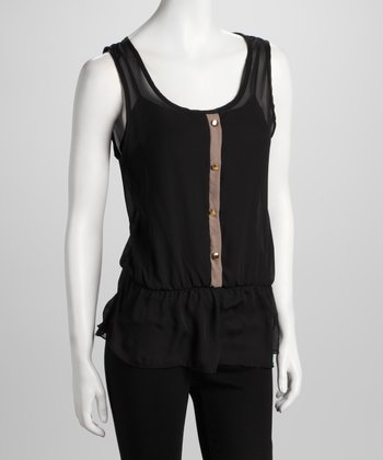 Black Sheer Sleeveless Blouson Top