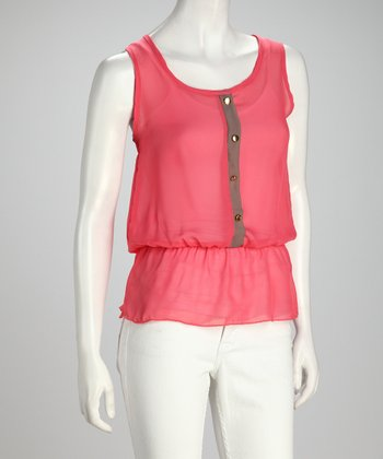 Coral Semi-Sheer Cinch-Waist Tank