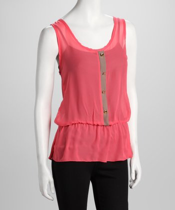 Coral Sheer Sleeveless Blouson Top