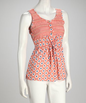 Coral & White Abstract Floral Tank