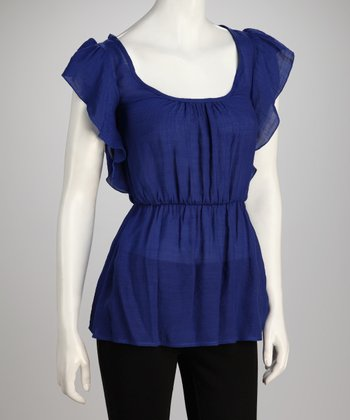 Royal Blue Tie-Back Cutout Tunic