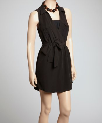 Black Surplice Shirt Dress