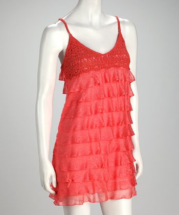 Coral Ruffle-Tier Dress