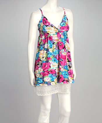 Light Blue Floral Lace Surplice Tunic