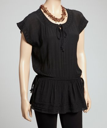 Black Drawstring Peplum Top