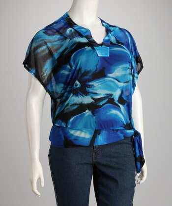 Blue & Black Floral Plus-Size Top