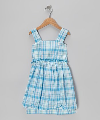 Blue Plaid Bubble Dress - Girls