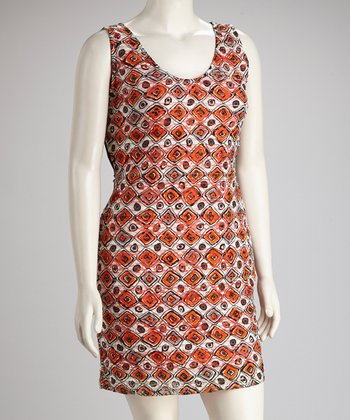 Black & Orange Lattice-Back Sleeveless Dress - Plus