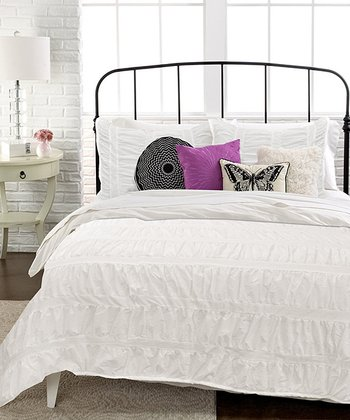 White Ruched Stripe Comforter Set