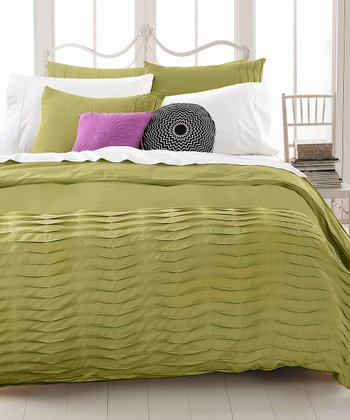 Green Pleated Tucks Duvet Set