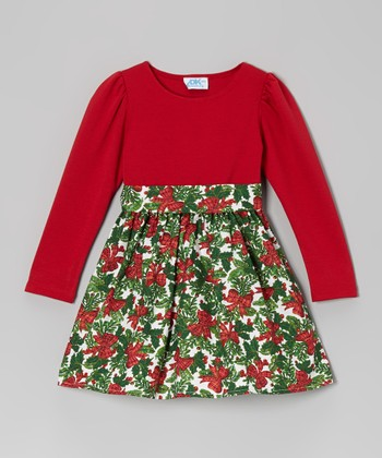 Red & Green Holly Dress - Infant, Toddler & Girls