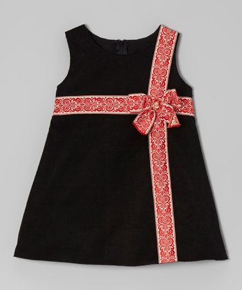 Black & Red Corduroy Bow Dress - Infant, Toddler & Girls