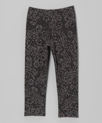 Gray Floral Jacquard Leggings - Toddler & Girls
