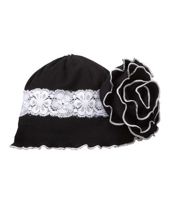 Black Lace Ruffle Flower Beanie