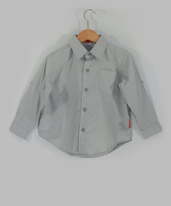 Light Gray Pinstripe Button-Up - Toddler & Boys