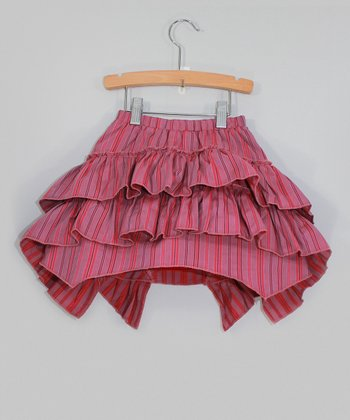 Red Stripe Ruffle Tiered Skirt - Toddler & Girls