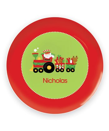 Santa's Christmas Train Personalized Plate