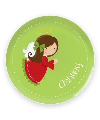 Brown-Haired Angel Personalized Plate