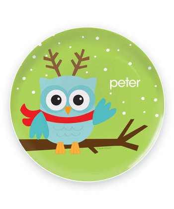 Baby Blue Christmas Owl Personalized Plate