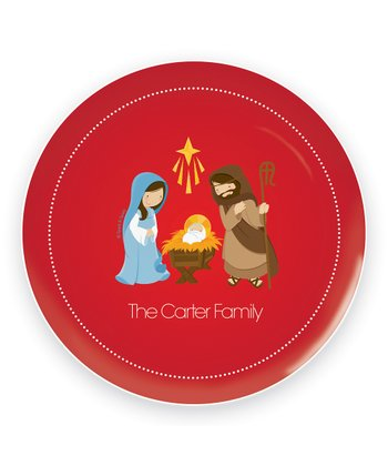 Red Nativity Scene Personalized Plate