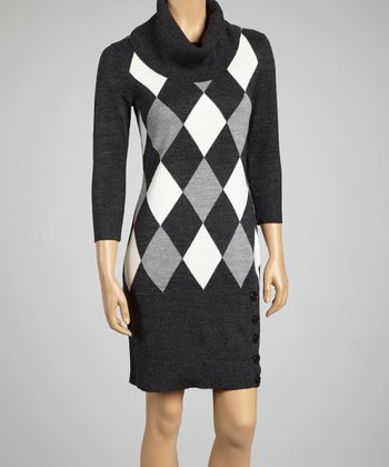 Charcoal & Ivory Argyle Dress