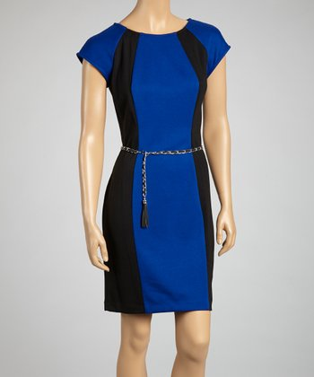 Royal Blue & Black Belted Dress