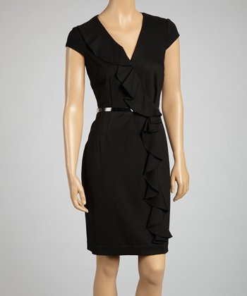 Black Ruffle Belted Dress