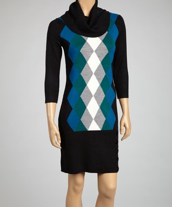 Black Twilight Argyle Cowl Neck Sweater Dress